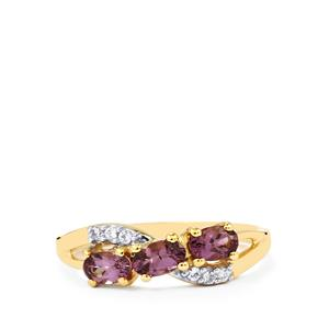 Mahenge Purple Spinel & White Zircon 10K Gold Ring ATGW 0.87cts