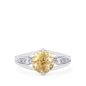 Champagne Danburite Ring with Diamond in Sterling Silver 1.91cts