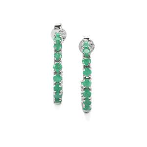 Carnaiba Brazilian Emerald Earrings in Sterling Silver 2cts