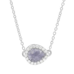 Rose Cut Tanzanite & White Zircon Sterling Silver Necklace ATGW 2.10cts