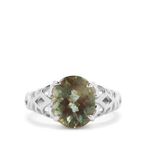 Green Colour Change Andesine Ring in Sterling Silver 3cts