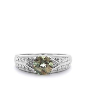 1.24ct Green Colour Change Andesine Sterling Silver Ring
