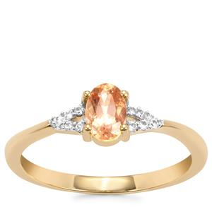 Ouro Preto Imperial Topaz Ring with White Zircon in 10K Gold 0.57ct
