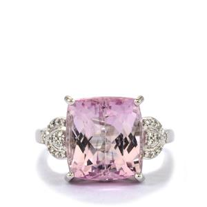Mawi Kunzite Ring with Diamond in 18k White Gold 9.88cts