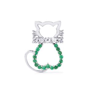 Sakota Emerald Pendant with White Topaz in Sterling Silver 0.85ct