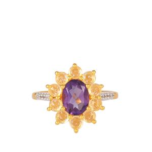 Bahia Amethyst Ring with White Topaz in Gold Plated Sterling Silver 2.2cts