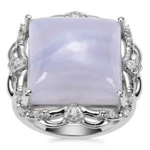 Blue Lace Agate Ring with White Zircon in Sterling Silver 13.65cts