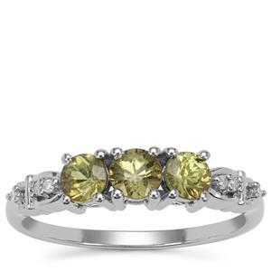 Green Dragon Demantoid Garnet Ring with Diamond in 9K White Gold 1cts