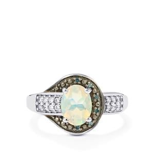 Ethiopian Opal, Blue Diamond Ring with White Zircon in Sterling Silver 0.96cts
