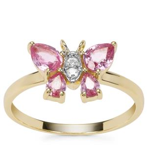 Sakaraha Pink Sapphire Ring with White Zircon in 9K Gold 2.61cts