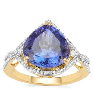 AAA Tanzanite Ring with Diamond in 18K Gold 6.50cts