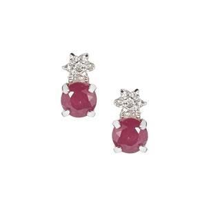 Luc Yen Ruby Earrings with White Zircon in Sterling Silver 0.85ct