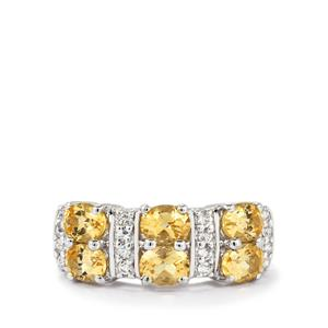 Ouro Preto Imperial Topaz Ring with White Topaz in Sterling Silver 2.44cts