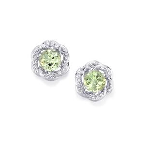 Lone Star Prasiolite Earrings with White Topaz in Sterling Silver 2.89cts