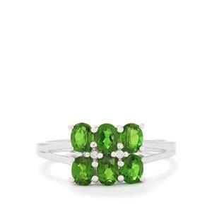 Chrome Diopside & Diamond 10K White Gold Ring ATGW 1.52cts