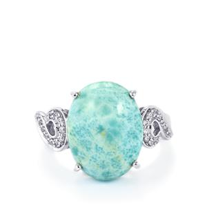 Larimar & White Zircon Sterling Silver Ring ATGW 10.00cts