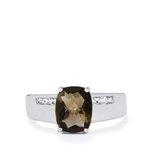 Smokey Quartz Ring with White Topaz in Sterling Silver 2.55cts