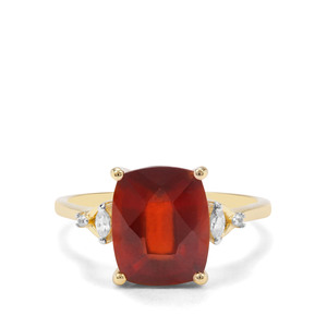 Gooseberry Grossular Garnet & White Zircon 9K Gold Ring ATGW 4.88cts