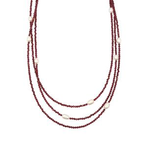 Nampula Garnet Bead Necklace with Kaori Cultured Pearl in Sterling Silver