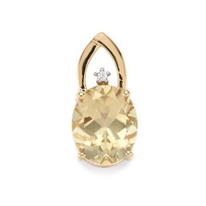 Serenite Pendant with White Zircon in 10k Gold 4.18cts