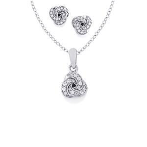 0.65ct White Zircon Sterling Silver Sets of Earrings & Pendant Necklace