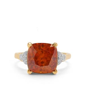 Sphalerite Ring with Diamond in 18K Gold 8.09cts