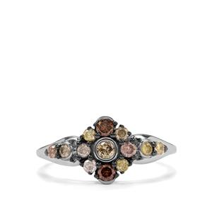 1/2ct Multi-Colour Diamond Sterling Silver Ring