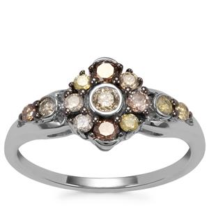 Multi-Colour Diamond Ring in Sterling Silver 0.50ct