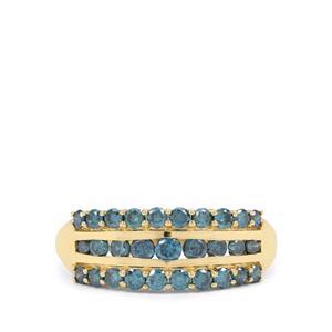 1ct Blue Diamond 9K Gold Ring
