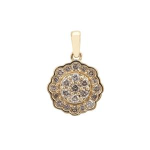 1/2ct Champagne Diamond 9K Gold Pendant