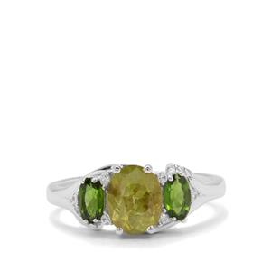 Ambilobe Sphene, Chrome Diopside & White Zircon Sterling Silver Ring ATGW 1.94cts