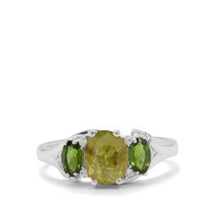 Ambilobe Sphene, Chrome Diopside & White Zircon Sterling Silver Ring ATGW 1.94cts