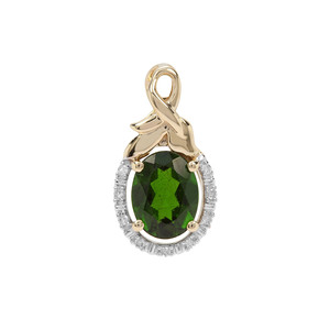 Chrome Diopside Pendant with Diamond in 9K Gold 1.42cts