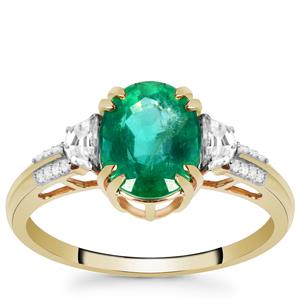 Zambian Emerald Ring with White Zircon in 9K Gold 2.20cts