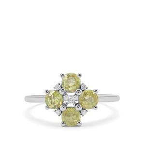 Ambilobe Sphene Ring with White Zircon in 9K White Gold 1.15cts