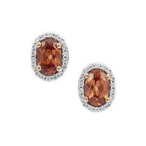 1.53ct Zanzibar Sunburst & White Zircon 9K Gold Earrings
