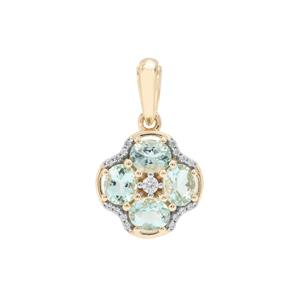 Aquaiba Beryl Pendant with White Zircon in 9K Gold 1.39cts