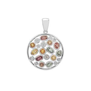 Songea Multi Sapphire Pendant with White Zircon in Sterling Silver 3.66cts