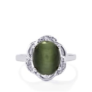 Green Cat's Eye & White Topaz Sterling Silver Ring ATGW 4.70cts