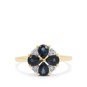 Australian Blue Sapphire Ring with Diamond in 9K Gold 1.49cts