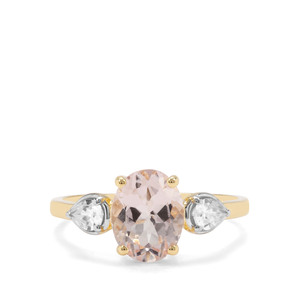 Alto Ligonha Morganite & White Zircon 9K Gold Ring ATGW 2.06cts