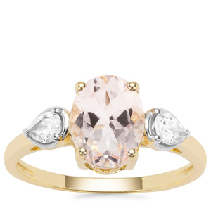 Alto Ligonha Morganite Ring with White Zircon in 9K Gold 2.06cts