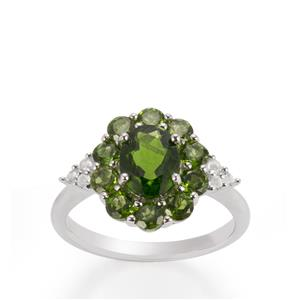 Chrome Diopside & White Topaz Sterling Silver Ring ATGW 2.92cts