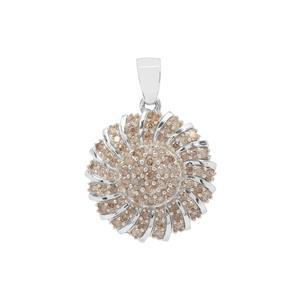 Cognac Diamond Pendant in Sterling Silver 1.50cts