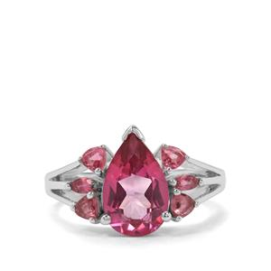 Mystic Pink Topaz & Pink Tourmaline Sterling Silver Ring ATGW 4.09cts
