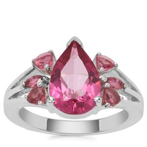 Mystic Pink Topaz Ring with Pink Tourmaline in Sterling Silver 4.09cts