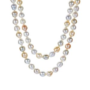 South Sea & Golden South Sea Cultured Pearl Sterling Silver Necklace (8 x 7.50mm)