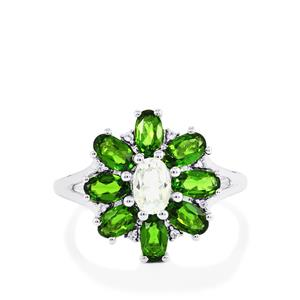 Chrome Diopside Ring with White Topaz in Sterling Silver 2.47cts
