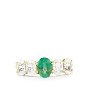 Zambian Emerald Ring with White Zircon in 10K Gold 3.71cts