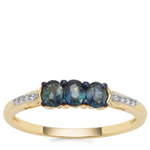 Nigerian Blue Sapphire Ring with White Zircon in 9K Gold 0.65cts
